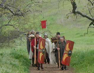 A detachment of LEGIO IX              HISPANA on a Roman trek